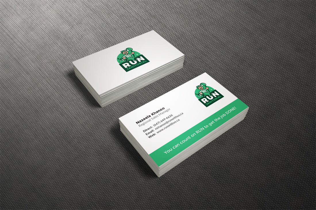 RUN Janitorials Logo Is Already Such A Powerful Part Of Their Branding That Business Card Design Needed To Be Simple We Used The Fonts And Colours